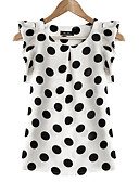 cheap Women's Dresses-Women's Plus Size Butterfly Sleeves Blouse - Polka Dot Print / Summer / Ruffle