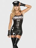 preiswerte Damen Tank-Shirts & kurze Jäckchen-Polizei Cosplay Kostüme Party Kostüme Damen Polizeiuniform Halloween Karneval Fest / Feiertage Austattungen Schwarz Patchwork