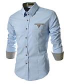 baratos Vestidos de Patinação no Gelo-Homens Camisa Social - Trabalho Negócio / Clássico Côr Pura, Sólido / Xadrez / Manga Longa