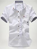 billige Herreskjorter-Button down-krave Tynd Herre - Ensfarvet Bomuld, Trykt mønster Strand Plusstørrelser Skjorte Hvid XL / Kortærmet / Sommer