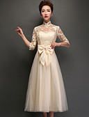 cheap Bridesmaid Dresses-A-Line High Neck Tea Length Tulle Bridesmaid Dress with Appliques / Lace by LAN TING Express