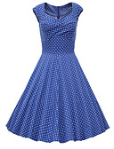 cheap Women's Dresses-Women's Going out Vintage / Street chic Cotton A Line Dress - Polka Dot Blue, Print Sweetheart Neckline