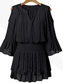 זול שמלות נשים-צווארון V מעל הברך חלול חיצוני, אחיד / טלאים - שמלה משוחרר שרוול התלקחות מידות גדולות בגדי ריקוד נשים / קיץ