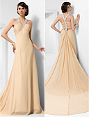 cheap Evening Dresses-Ball Gown Straps Court Train Chiffon Beautiful Back Formal Evening Dress with Beading / Draping / Side Draping by TS Couture®