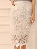 abordables Faldas para Mujer-Mujer Lápices Faldas - Encaje, Un Color