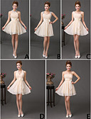 cheap Bridesmaid Dresses-A-Line Straps Short / Mini Chiffon Bridesmaid Dress with Sequin / Ruffles by LAN TING Express / Mix & Match Sets