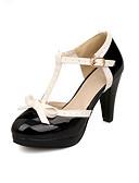 cheap Women's Blazers & Jackets-Women's Shoes Leatherette Spring / Summer Comfort Cone Heel Buckle / Split Joint Black / Red / Pink / Dress