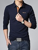cheap Men's Tees & Tank Tops-Men's Active Plus Size Cotton Slim Polo - Solid Colored Print Shirt Collar / Long Sleeve