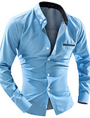 cheap Men's Shirts-Men's Work Cotton Slim Shirt - Solid Colored Button Down Collar / Long Sleeve