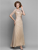 cheap Mother of the Bride Dresses-A-Line Jewel Neck Ankle Length Chiffon Mother of the Bride Dress with Beading Ruched by LAN TING BRIDE®