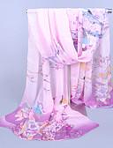 baratos Cachecol Feminino-Mulheres Festa / Trabalho Chiffon, Retângular - Estampado Floral / Azul / Púrpura / Cinzento / Rosa / Cachecol