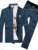 baratos Camisetas & Regatas Masculinas-Homens Tamanhos Grandes Esportes Manga Longa activewear Set Sólido