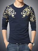 billige T-skjorter og singleter til herrer-Bomull Store størrelser T-skjorte Herre Trykt mønster Bohem Sport / Langermet
