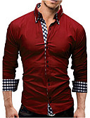 cheap Men's Shirts-Men's Cotton Slim Shirt - Solid Colored Spread Collar / Long Sleeve