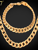 cheap Men's Shirts-Women's Cuban Jewelry Set Rose Gold, Rose Gold Plated Ladies, Luxury, Vintage, Party, Work, Casual Include Chain Bracelet Chain Necklace Gold / Silver / Red For Party Gift Daily