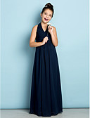 preiswerte Kleider für Junior-Brautjungfern-A-Linie Halter Boden-Länge Chiffon Junior-Brautjungferkleid mit Drapiert / Überkreuzte Rüschen durch LAN TING BRIDE® / Normal / Mini Me