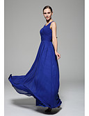 cheap Bridesmaid Dresses-A-Line Scoop Neck Floor Length Chiffon Bridesmaid Dress with Draping Side Draping by LAN TING BRIDE®