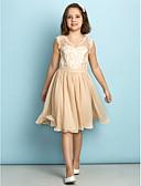 billige Junior brudepikekjoler-A-linje V-hals Knelang Blonder Junior brudepikekjole med Blonder av LAN TING BRIDE® / Naturlig / Mini-meg