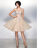 זול שמלות נשף-גזרת A / צמוד ומתרחב אשליה באורך  הברך טול See Through מסיבת קוקטייל / נשף רקודים שמלה עם אפליקציות על ידי TS Couture®
