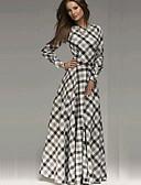 cheap Women's Dresses-Women's Sophisticated Cotton Sheath / Swing Dress - Check Maxi / Spring / Fall / Winter