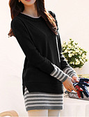 זול 2017ביקיני ובגדי ים-כותנה פסים - סוודר ארוך שרוול ארוך מתוחכם בגדי ריקוד נשים / צינור / סתיו