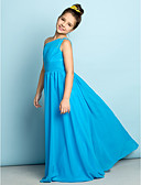 cheap Flower Girl Dresses-A-Line One Shoulder Floor Length Chiffon Junior Bridesmaid Dress with Crystals / Side Draping by LAN TING BRIDE® / Natural / Mini Me