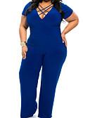 voordelige Dames jumpsuits & rompers-Dames Grote maten Jumpsuit - Effen, Geplooid Diepe V-hals