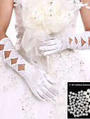 cheap Corsets & Bustiers-Spandex Elbow Length Glove Bridal Gloves / Party / Evening Gloves With Pearl / Ruffles