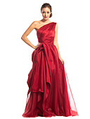cheap Prom Dresses-A-Line One Shoulder Floor Length Organza / Satin Prom / Formal Evening Dress with Side Draping by TS Couture®