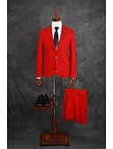 hesapli Takım Elbiseler-Kırmzı Solid Kişiye Özel Kalıp Pamuk Kaşımı Takım elbise - Çentik Tek Sıra Düğmeli Bir Düğme / Suit
