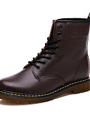 hesapli Spor Saat-Kadın's Ayakkabı Yapay Deri Sonbahar / Kış Düz Taban Yarı-Diz Boyu Çizmeler için Bağcıklı Siyah / Kahverengi / Kırmızı Şarap