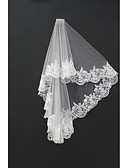 cheap Wedding Veils-Two-tier Lace Applique Edge Wedding Veil Blusher Veils Shoulder Veils Fingertip Veils 53 Appliques Tulle