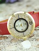 hesapli Moda Saatler-Kadın's Quartz Kol Saatleri imitasyon Pırlanta Deri Bant İhtişam Moda Siyah Beyaz Mavi Kırmızı Kahverengi Gül