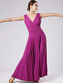 baratos Vestidos de Mulher-Dança de Salão Vestidos Mulheres Espetáculo Náilon Chinês Pregueado Vestido