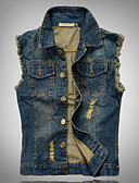 cheap Men's Jackets & Coats-Men's Sleeveless Vest , Acrylic / Polyester Casual / Plus Sizes Pure k046