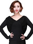 cheap Men's Shirts-Latin Dance Tops Women's Performance Milk Fiber Ruffles Long Sleeve Top / Modern Dance / Jazz / Samba / Ballroom Dance