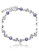 cheap Women's Blouses-Women's Crystal Chain Bracelet / Charm Bracelet - Sterling Silver, Crystal Simple Style, Fashion, Bridal Bracelet White / Purple For Wedding / Party / Daily