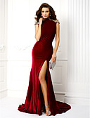 cheap Evening Dresses-Mermaid / Trumpet High Neck Sweep / Brush Train Velvet Keyhole Formal Evening Dress with Crystals / Split Front by TS Couture®