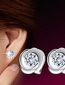 hesapli Tişört-Kadın's Vidali Küpeler Yuvarlak Bayan Som Gümüş Gümüş Küpeler Mücevher Uyumluluk Düğün Parti Günlük Spor