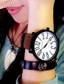 baratos Relógios da Moda-Mulheres Relógio de Pulso Quartzo Relógio Casual Couro Banda Analógico Fashion Elegante Preta / Marrom - Preto / Branco Preto Branco / Marron Um ano Ciclo de Vida da Bateria / KC 377A
