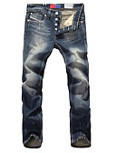 رخيصةأون بنطلونات و شورتات رجالي-بنطلون سادة منقوش جينزات قياس كبير للرجال
