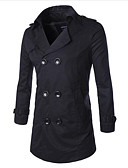 cheap Men's Jackets & Coats-Men's Long Wool Trench Coat - Solid Colored, Modern Style