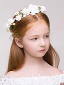 olcso Virágszóró kislány ruhák-Anyag / Műanyag koszorúk val vel 1 Esküvő / Különleges alkalom / Szabadtéri Sisak