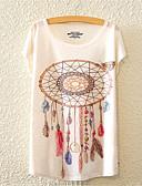 baratos Blusas Femininas-Mulheres Camiseta Fofo Activo Flor, Floral Algodão