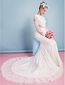 cheap Wedding Dresses-Mermaid / Trumpet Jewel Neck Chapel Train Lace Made-To-Measure Wedding Dresses with Beading / Appliques / Sash / Ribbon by LAN TING BRIDE®