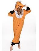 halpa Miesten bleiserit ja puvut-Aikuisten Kigurumi-pyjama Kettu Eläin Pyjamahaalarit Polar Fleece Oranssi Cosplay varten Miehet ja naiset Animal Sleepwear Sarjakuva Festivaali / loma Puvut
