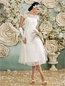 preiswerte Hochzeitskleider-A-Linie Illusionsausschnitt Tee-Länge Tüll mit Spitzen-Overlay Maßgeschneiderte Brautkleider mit Applikationen durch LAN TING BRIDE®