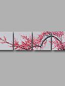 preiswerte Herrenhemden-Hang-Ölgemälde Handgemalte - Blumenmuster / Botanisch Modern Segeltuch