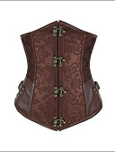 cheap Corsets-Women's Lace Up Hook & Eye Underbust Corset-Jacquard