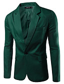 cheap Men's Blazers & Suits-Men's Work Basic Spring / Fall Blazer, Solid Colored Notch Lapel Long Sleeve Cotton / Polyester Green / Blue / Khaki XL / XXL / XXXL / Business Casual